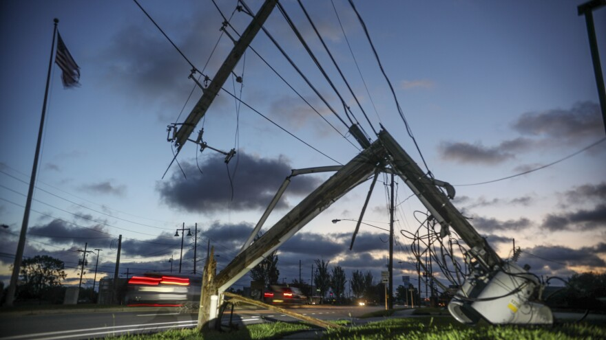 Downed power lines and other damage from Hurricane Zeta are seen in Chalmette, La., Thursday. Seven hurricanes have hit the Gulf Coast in 2020, bringing extensive destruction to the area.