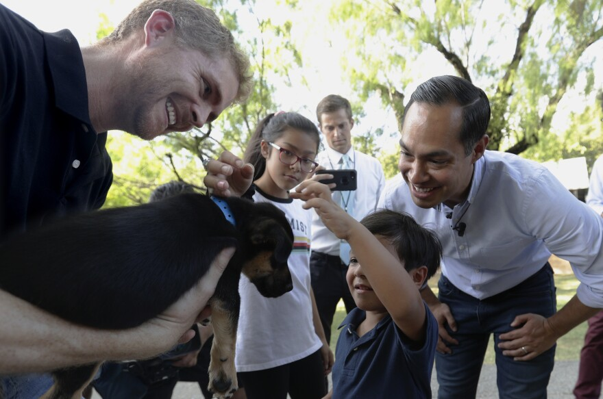 Former Housing secretary Julián Castro, right, his son Cristian and daughter Carina visit Ivan, a puppy up for adoption, during a stop at the Animal Defense League of Texas shelter in San Antonio.