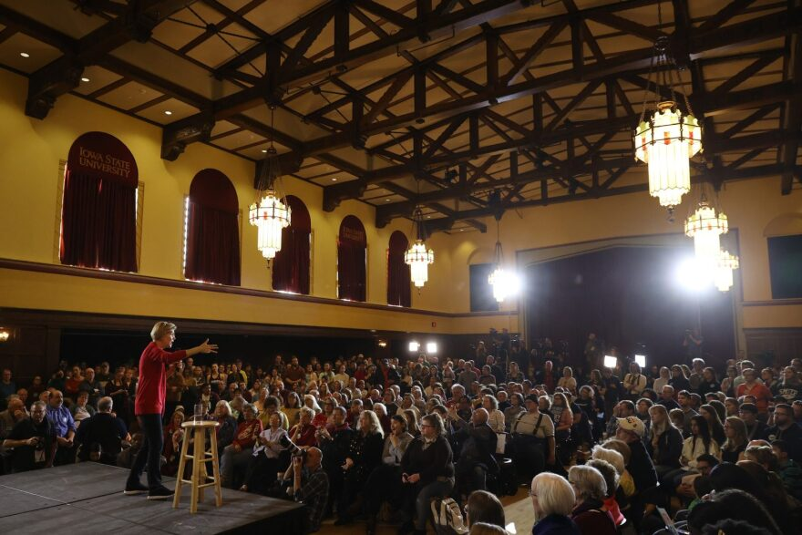 Democratic presidential candidate Sen. Elizabeth Warren (D-MA) speaks during a campaign event at Iowa State University's Memorial Union in Ames, Iowa.