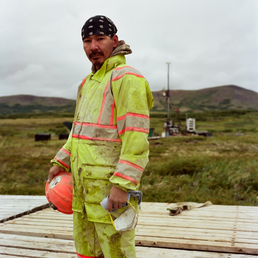 Originally from Nondalton, Alaska, Clinton Hobson, who lives in Kokhanok, worked as a drill helper at the Pebble Mine site during the summer of 2017. He says he makes $19.75 per hour.<strong> </strong>At home, he says, he cannot find a job that pays enough to support his family.