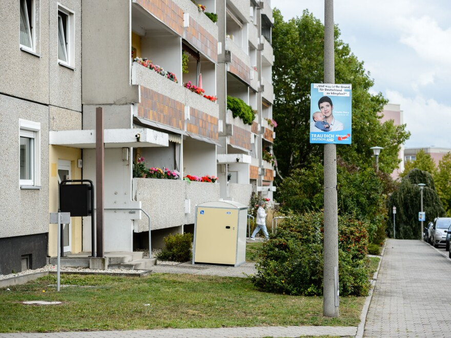 An election campaign poster for the right-wing Alternative for Germany hangs in Dresden, in Germany's east.