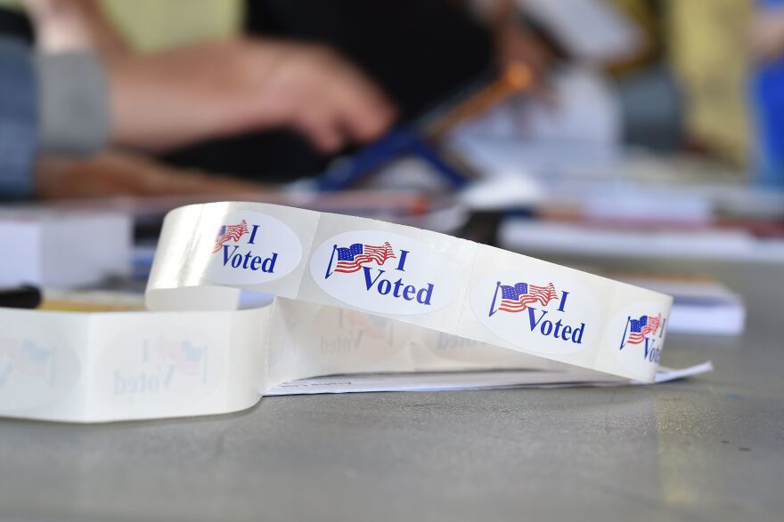 """""""I voted"""" stickers at a polling station on the campus of the University of California, Irvine, on Nov. 6, 2018 in Irvine, Calif. California, ten other states and the District of Columbia have all implemented automatic voter registration as a way of increasing voter turnout."""
