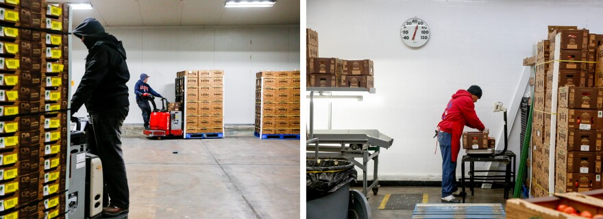 """The Wholesum Harvest warehouse in Nogales, Ariz., has a small packing house — known as """"repack."""" It's a second opportunity to check produce cartons before they are loaded onto trucks."""