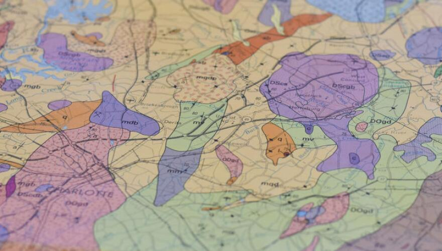 Concord, North Carolina, roughly located in the purple shape on this map showing rock formations in the Carolinas, is said to be on an ancient volcano. Geologists help set the record straight.