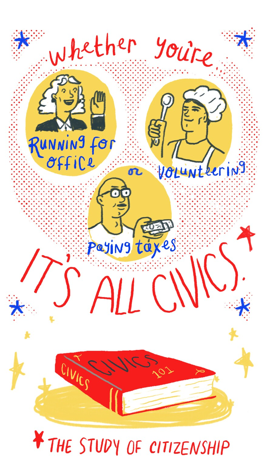 Whether you're running for office, volunteering or paying taxes, it's all civics (the study of citizenship).