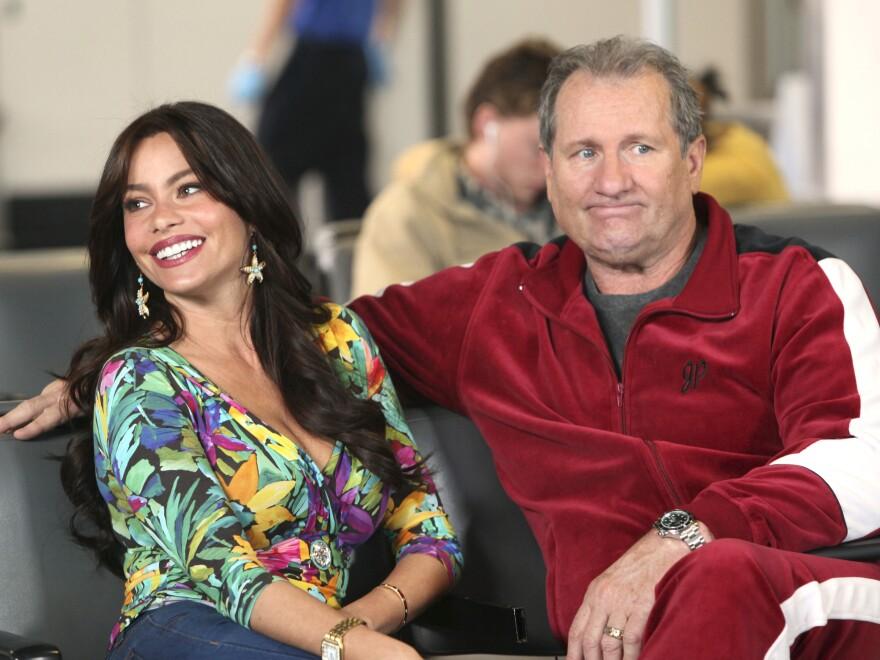 Sofia Vergara and Ed O'Neill play an interracial couple on ABC's <em>Modern Family</em>.