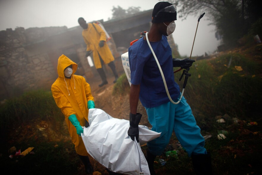 Health workers collect the body of a cholera victim in Petionville, Haiti, in February 2011. The disease first appeared on the island in October 2010, likely introduced by U.N. peacekeepers from Nepal, possibly a single individual.