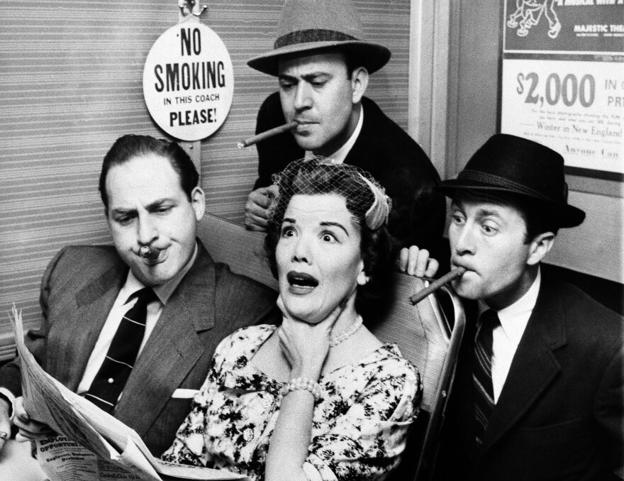 Reiner (top center), Sid Caesar (left), and Howard Morris bother railroad commuter Nanette Fabray on an episode of the sketch comedy show <em>Caesar's Hour </em>in 1955.