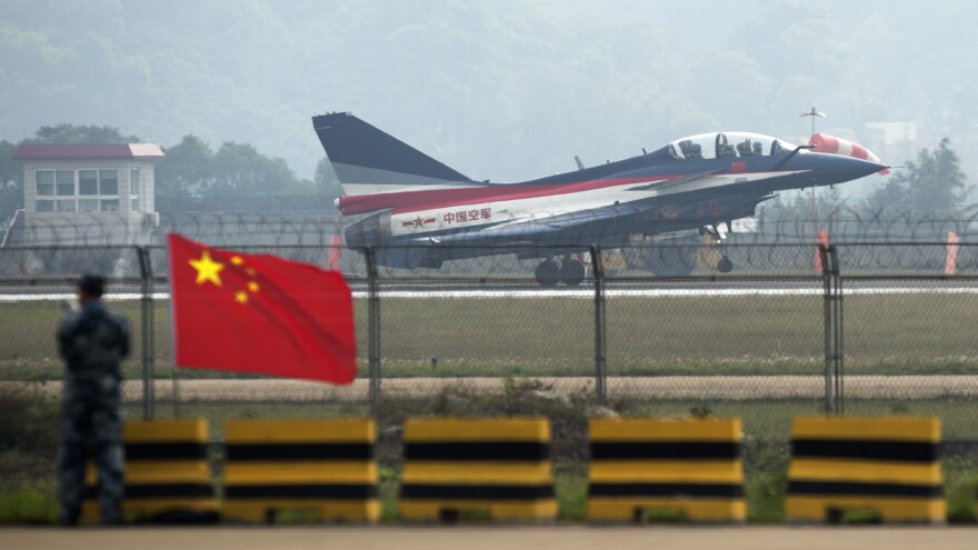 A Chinese J-10 fighter jet, the same model that intercepted U.S. aircraft earlier this week over the East China Sea, takes off from a runway in mainland China in 2014.