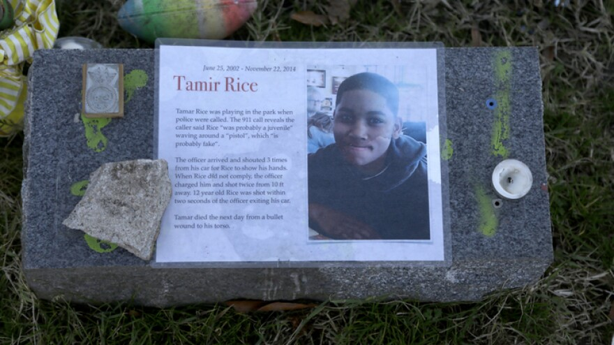 The Justice Department announced Tuesday that it would not bring federal criminal charges against two Cleveland police officers in the 2014 killing of 12-year-old Tamir Rice (pictured in a memorial). Officials said video of the shooting was of too poor a quality for prosecutors to conclusively establish what had happened.