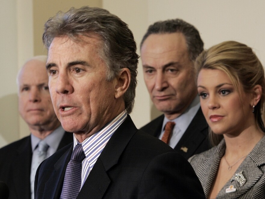 "John Walsh, host of ""America's Most Wanted,"" speaks during a 2007 news conference on Capitol Hill to discuss the Securing Adolescents From Exploitation-Online Act of 2007."