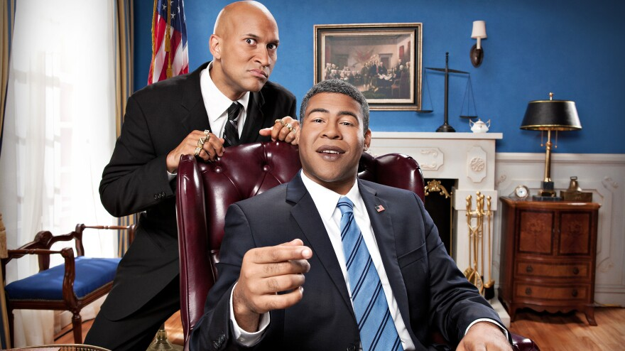 Keegan-Michael Key and Jordan Peele cooperate to impersonate President Obama in Comedy Central's <em>Key and Peele</em>.