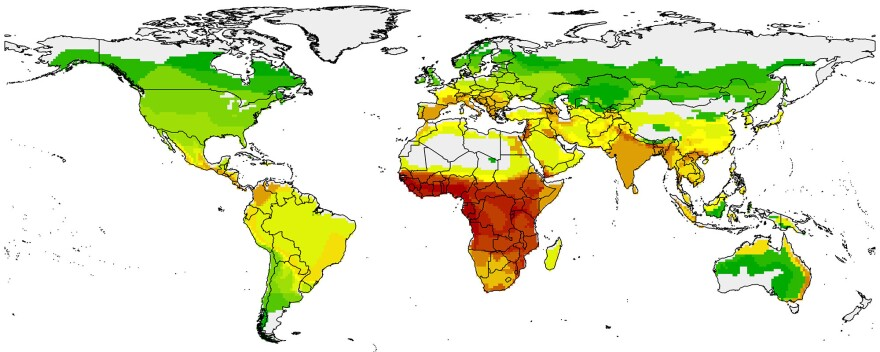 The map shows hot spots where the risk is highest for bats passing diseases to humans, based on degree of bat-human contact and number of diseases carried by regional bats. Red is superhot. Green is cool. Yellow is in the middle.