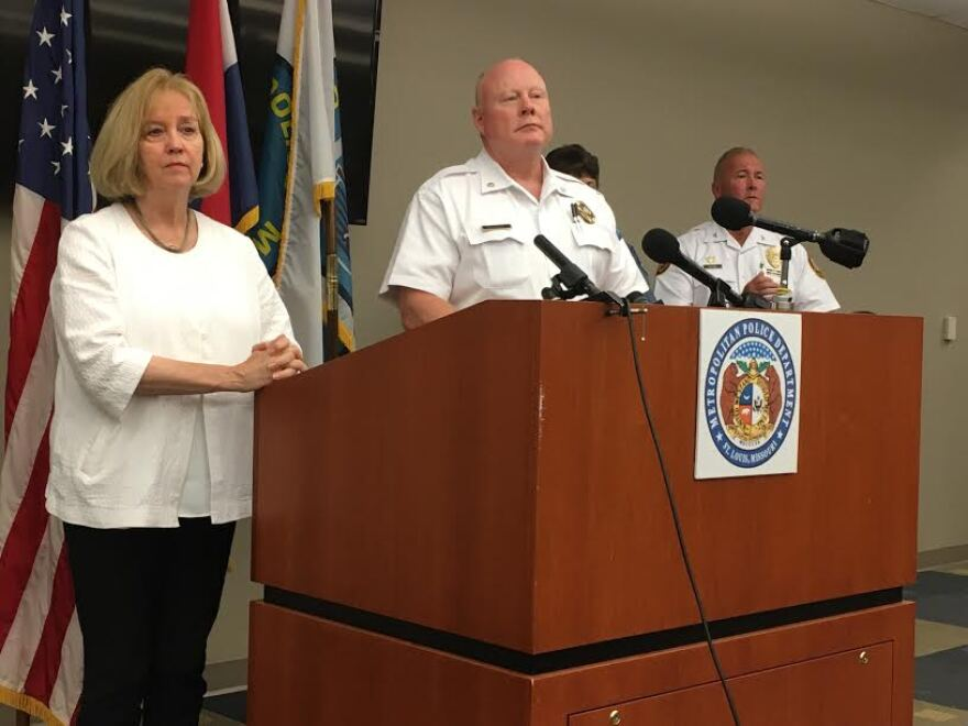 St. Louis Mayor Lyda Krewson and then-St. Louis interim Police Chief Larry O'Toole address reporters on Saturday, September 16, 2017.