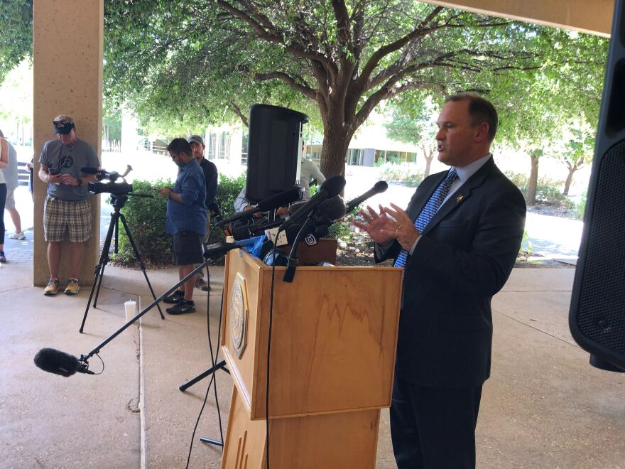Christopher Combs with the FBI speaks at a press conference following the mass shooting in West Texas.