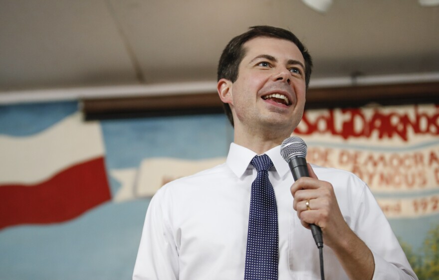Pete Buttigieg, mayor of South Bend, Ind., speaks at the West Side Democratic Club in South Bend.