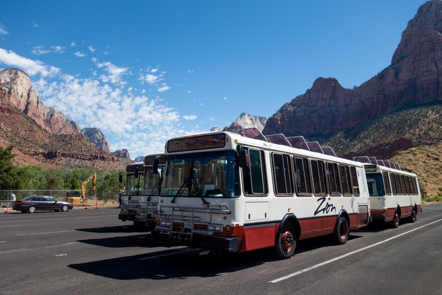 Shuttles at Zion National Park