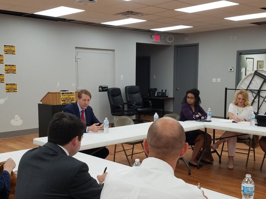 Democratic gubernatorial candidate Rich Cordray meets with public health officials in Cincinnati June 4, 2018.