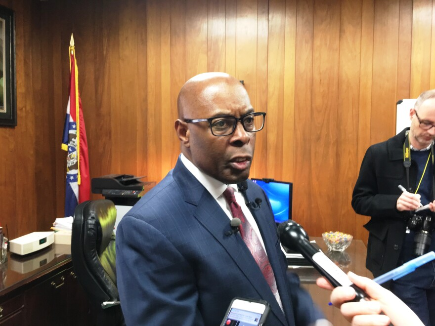 Public Safety director Jimmie Edwards defends the St. Louis Metropolitan Police Department on Jan. 29, 2019 against charges that officers are obstructing  Circuit Attorney Kim Gardner's investigation in the death of Katlyn Alix.
