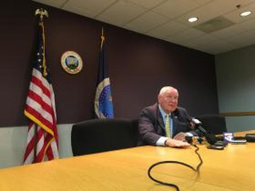 New U.S. Agriculture Secretary Sonny Perdue meets the media at a USDA office in Kansas City on Thursday, his third day on the job.