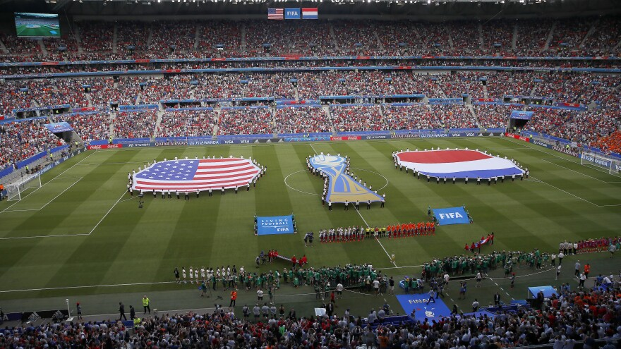 Events preceding the Women's World Cup final soccer match between the United States and the Netherlands in Decines, France, in 2019. FIFA President Gianni Infantino has suggested that the FIFA Women's World Cup could be held every two years instead of every four years.