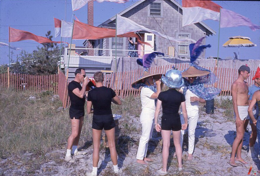 People gather at the beach in the Cherry Grove section of Fire Island in the 1960s.
