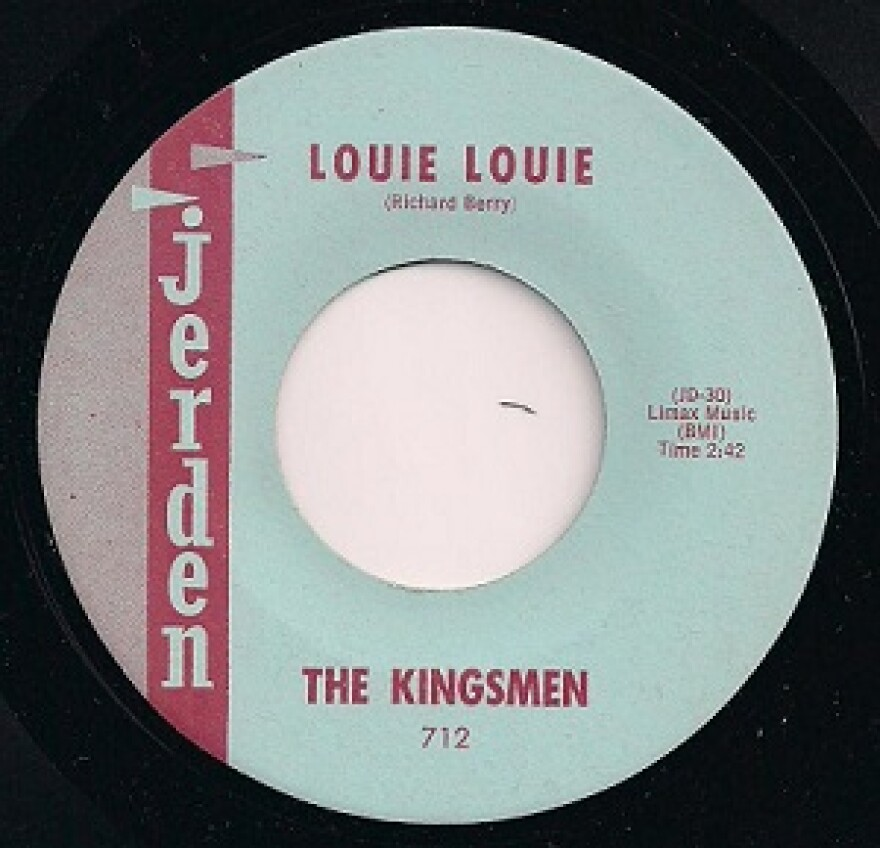 "An illustration of the original release of ""Louie Louie"" by the Kingsmen on the Jerden label."
