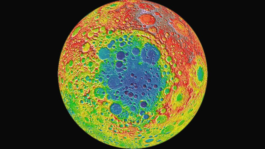 "The Chinese lunar lander <a href=""https://nssdc.gsfc.nasa.gov/planetary/lunar/cnsa_moon_future.html"">Chang'e 4</a> is headed to Aitken Basin, a large impact crater near the moon's south pole, pictured here in blue. The distance from the depths of Aitken Basin to the tops of the highest surrounding peaks is nearly twice the height of Mount Everest, according to NASA."