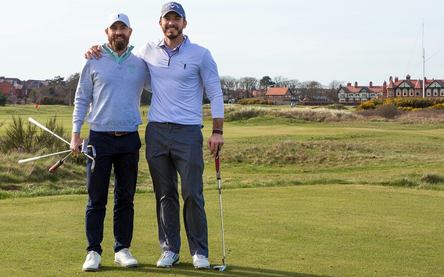Chris Solomon (right), with No Laying Up co-founder Todd Schuster at Royal Lytham & St. Annes Golf Club in England.