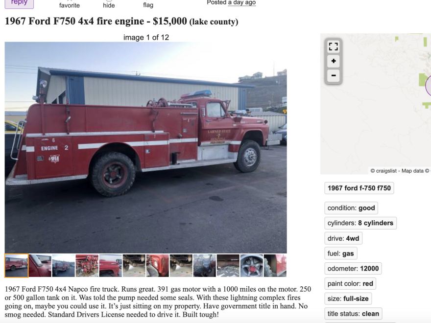 Lance Williams' Craiglist post for his 4x4 fire engine