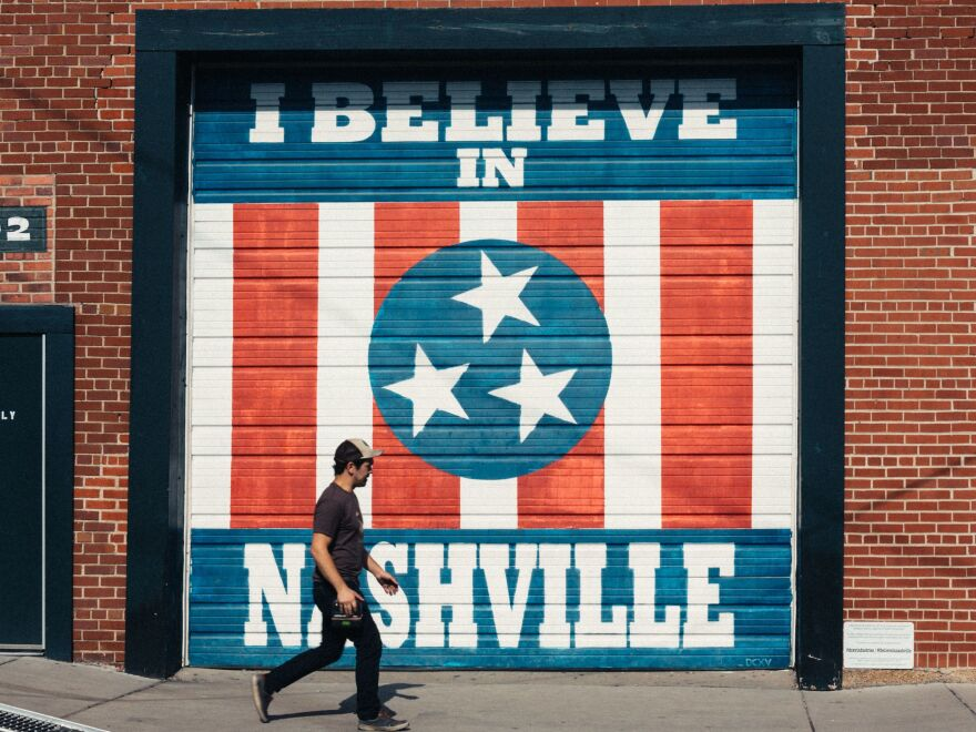 One of acclaimed Nashville street artist Adrien Saporiti's <em>I Believe In Nashville </em>murals is among the murals of all kinds that can be found throughout the city.