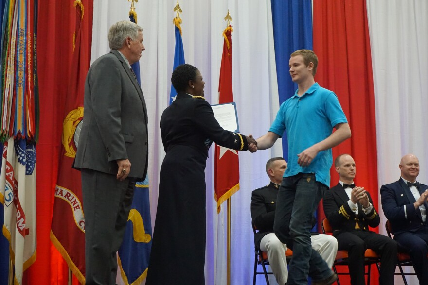 Steelville High School senior Caleb Dicus is honored at the event in Waynesville for his decision to enlist in the Army. More than 90 students from 12 high schools were recognized.