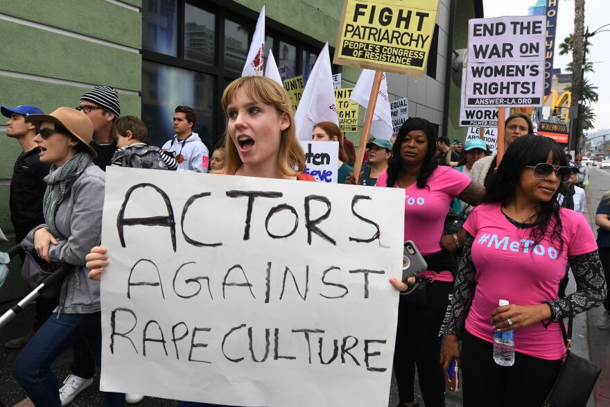 Victims of sexual harassment, sexual assault, sexual abuse and their supporters protest during a #MeToo march in Hollywood, Calif., on Nov. 12.