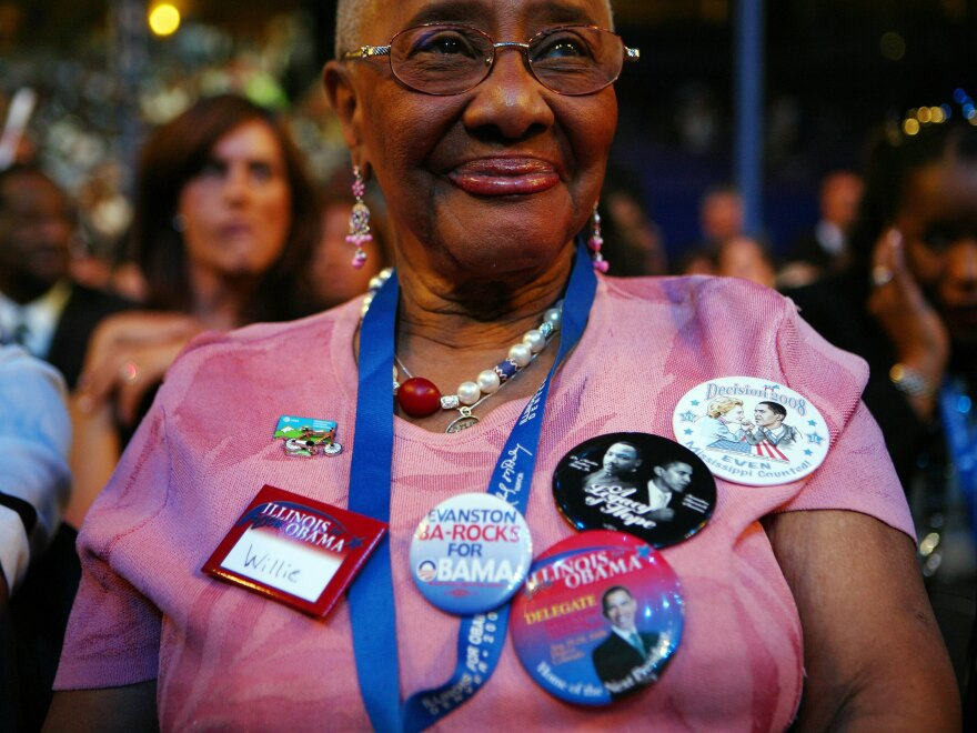 Rev. Willie Barrow, a 'superdelegate,'  attending the opening night of the 2008 Democratic National Convention. The long-time activist, who was a mentor to President Obama, died on Thursday.