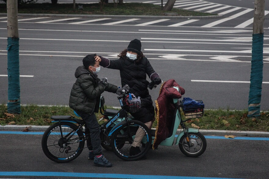 A mother and son go for a bike ride.