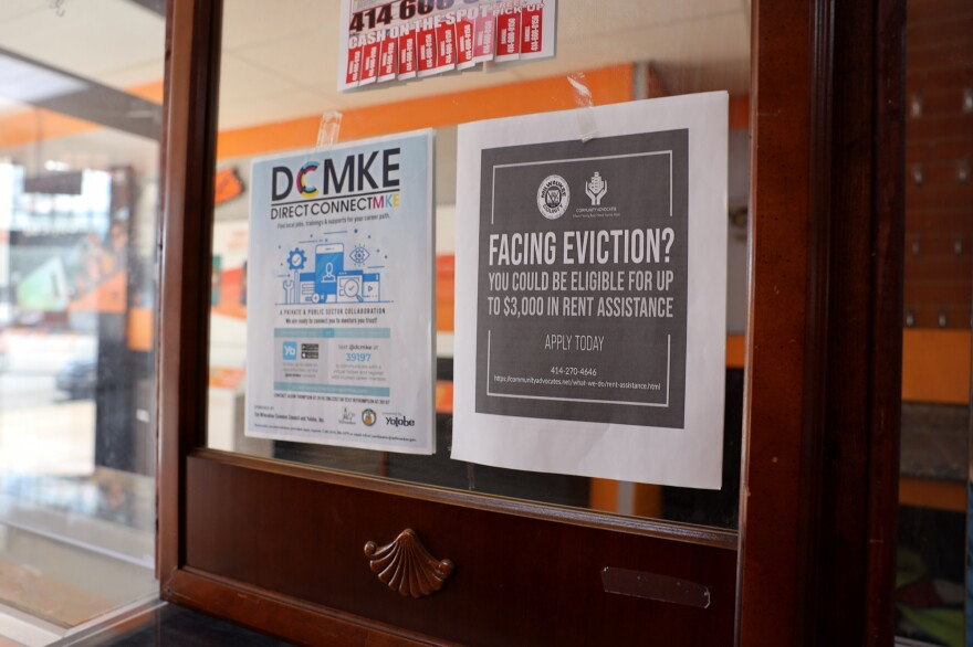 A sign inside a Boost Mobile store in Milwaukee prompted Robert Pettigrew to call Community Advocates to ask for help with rent. The Centers for Disease Control and Prevention says stable housing is vital to controlling the coronavirus pandemic.