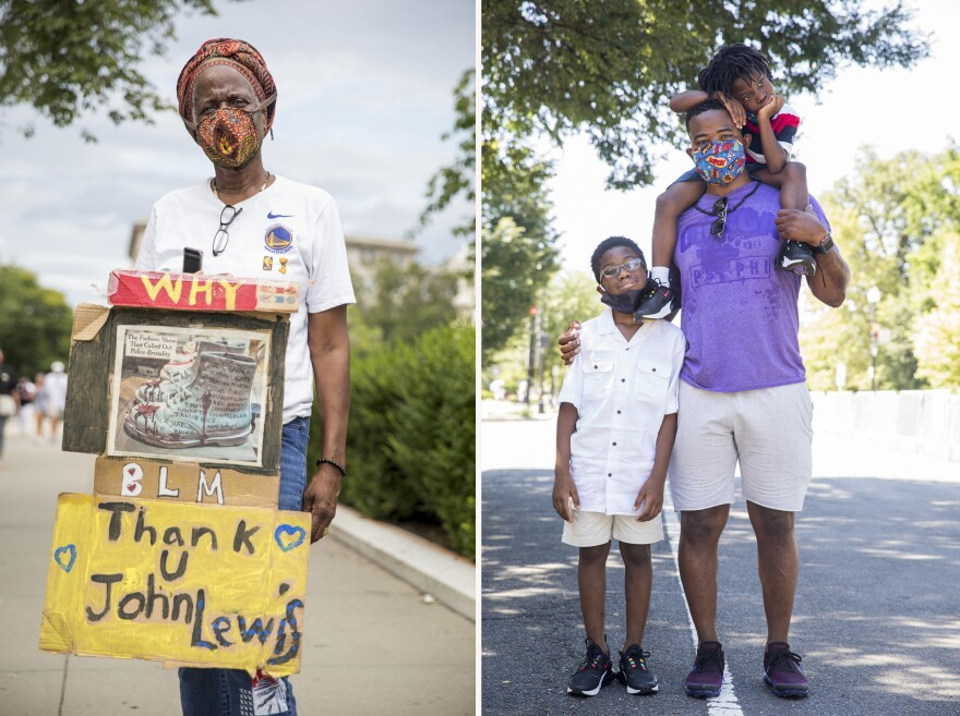 Right, Sheila Carr, of Washington, D.C. Left, Alphonso Harrell, recently moved to Richmond, Va. The children are Alphonso Harrell, 11, white shirt, and Jeremiah Harrell, 5, striped shirt on dad's shoulders.