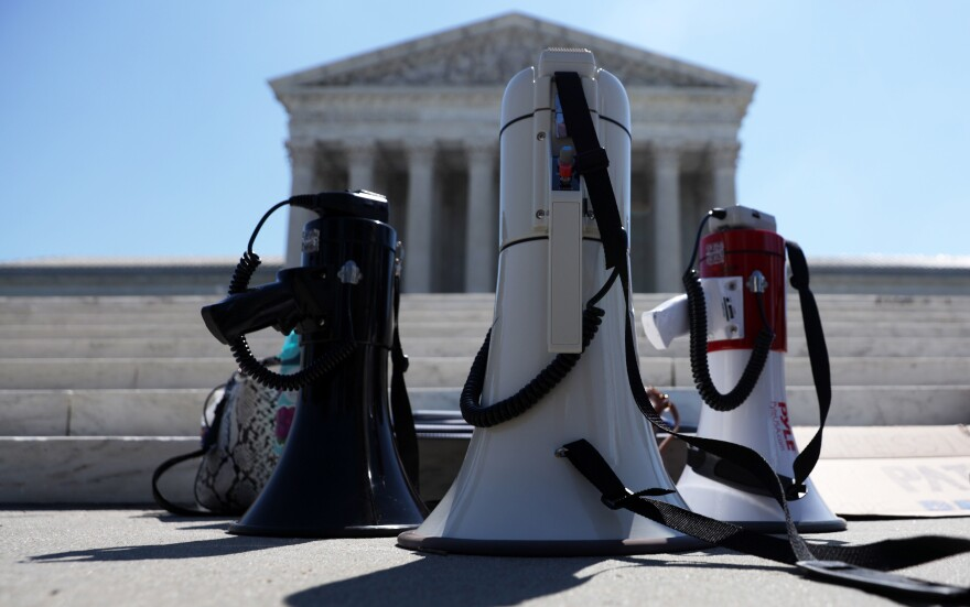 Bullhorns are seen during a demonstration in front of the Supreme Court on June 29. The court had a momentous term with cases ranging from President Trump's financial records to immigration and abortion.