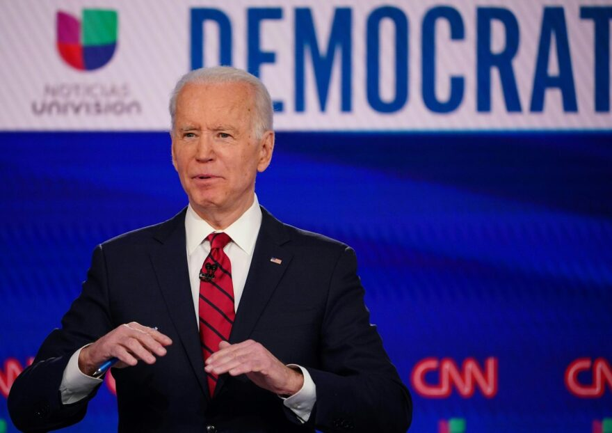 Democratic presidential hopeful former US vice president Joe Biden makes a point as he and Senator Bernie Sanders take part in the 11th Democratic Party 2020 presidential debate in a CNN Washington Bureau studio in Washington, DC.