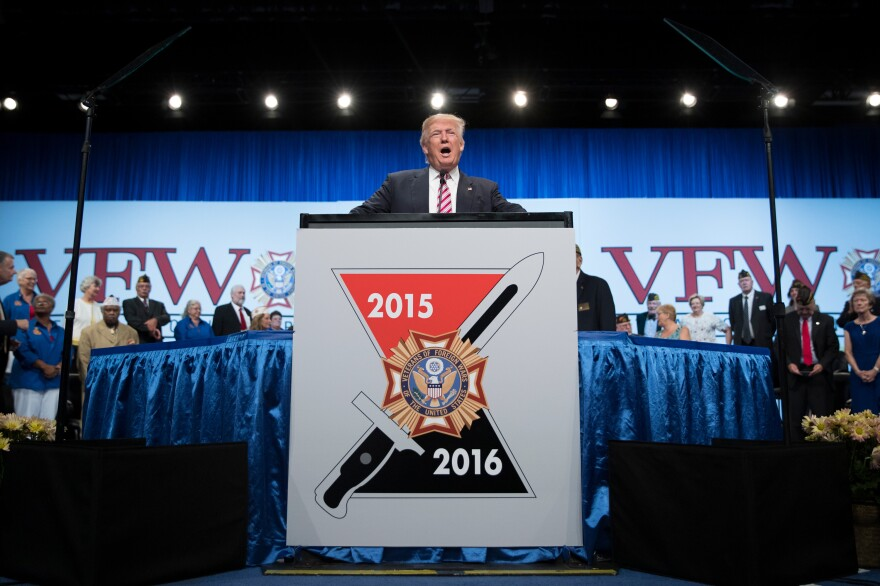 President-elect Donald Trump speaks at the Veterans of Foreign Wars convention in Charlotte, N.C., on July 26. Trump has no military experience, but will become commander in chief at a time when the U.S. is bombing targets in four separate wars.