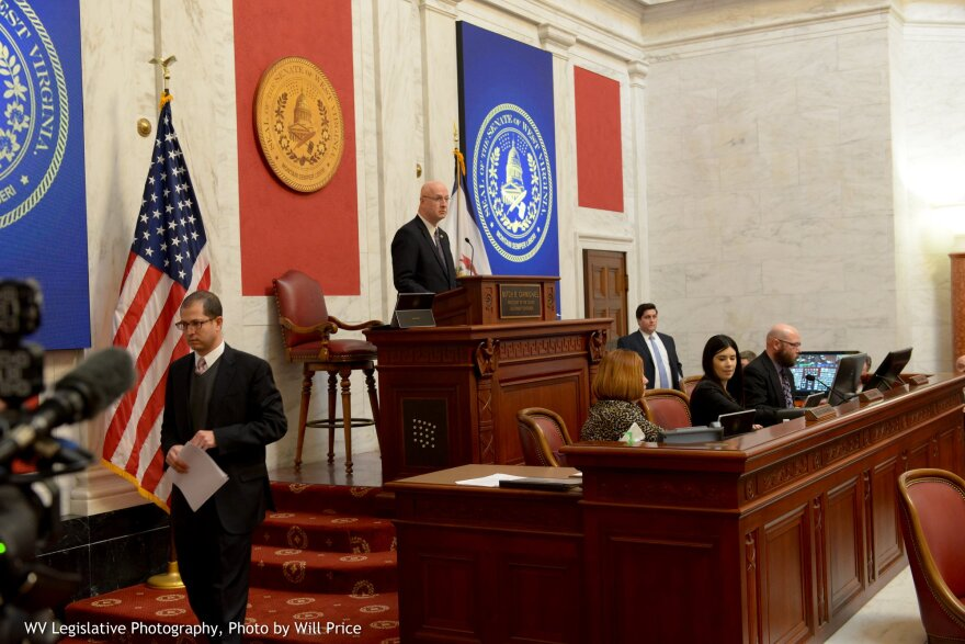 Sen. Craig Blair presides over the Senate's Committee of the Whole on Jan. 30, 2019, to discuss SB 451, sweeping and controversial education reform bill.