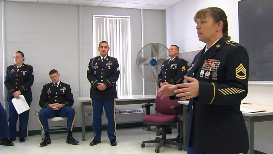 """Sgt. 1st Class Lahomma Fowler talked to her platoon about the deployment. Fowler explained to her soldiers: """"If you have vouchers pending for dental, medical, hearing – any of that stuff - when you call to make your appointment, you tell them: 'I am a dep"""