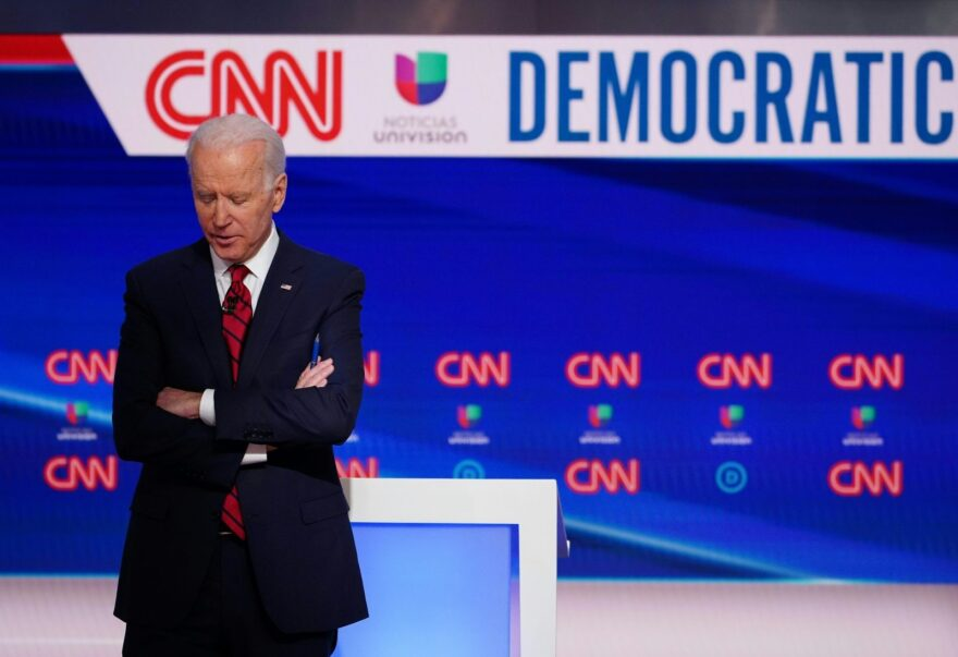 Democratic presidential hopeful former US vice president Joe Biden is seen on stage in Washington, DC.