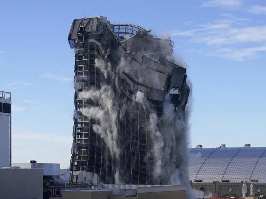 The former Trump Plaza Atlantic City, N.J., was demolished Wednesday. A series of explosions happened before the building imploded, all in less than 30 seconds.