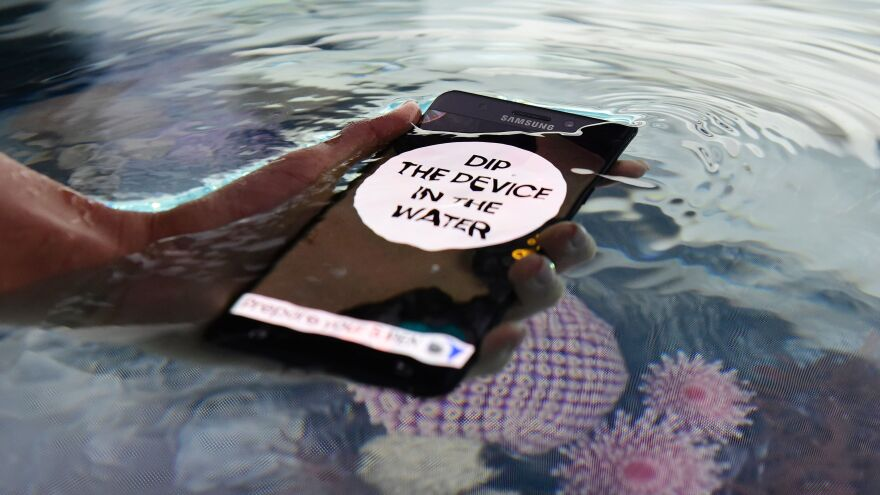The Galaxy Note 7 — shown at the IFA electronics trade fair in Berlin on Wednesday — is waterproof, as this demonstration was designed to highlight. But it turns out users might have another reason to drop it in water: Several dozen users have seen their phones catch fire, or even explode.