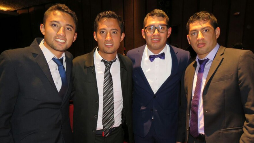 In March of 2017, the two sets of Bogotá twins, Jorge, William, Carlos and Wilber (left to right), gathered to celebrate Carlos's graduation.