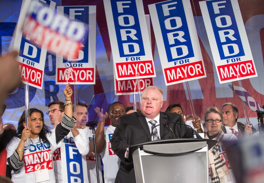 Toronto Mayor Rob Ford speaks during the kick-off of his re-election campaign at a rally on April 17, 2014. Ford, who made worldwide headlines after admitting binge drinking and smoking crack, was stripped of most of his powers. He died Tuesday.