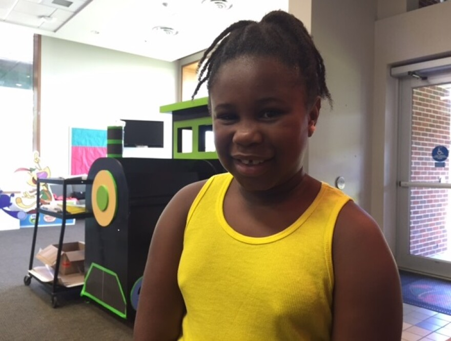 Fourth grader Kaylynn Robinson learned PBS Kids' Scratch Jr. Build-a-game program at Riley Elementary School during the Summer.