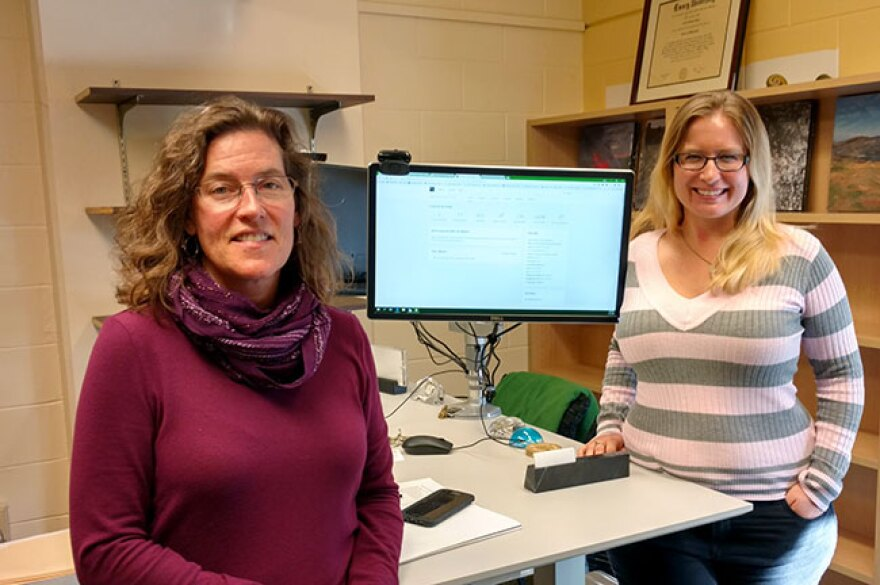 USF English Dept. Chair Laura Runge, left, taught second year PhD student Elizabeth Ricketts how to use Wikipedia to share knowledge through a USF course.