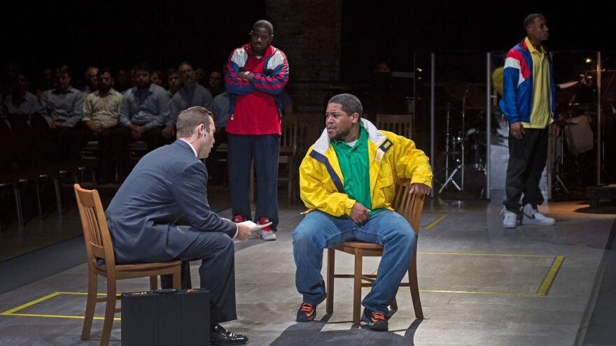 (Left to right) Joseph Lattanzi, Sankara Harouna, Terrence Chin-Loy and Miles Wilson-Toliverstar star in <em>Blind Injustice, </em>presented through the Cincinnati Opera.